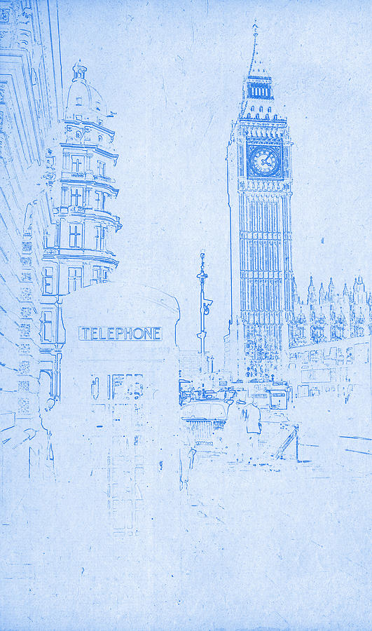 Painting Digital Art   Big Ben In London   Blueprint Drawing By MotionAge  Designs
