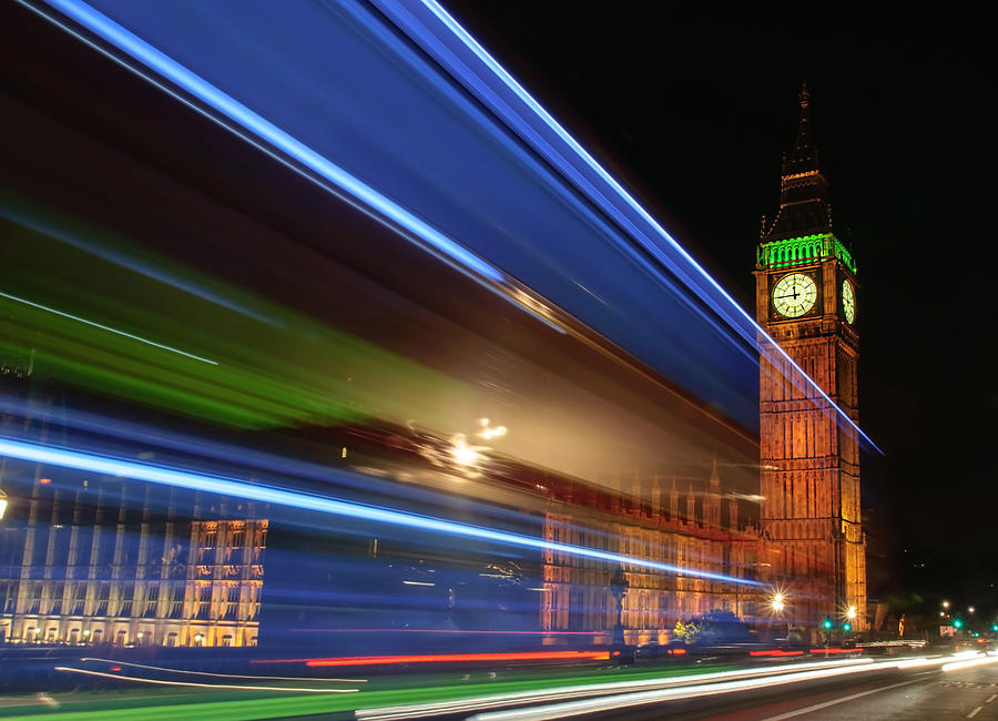 Big Ben Photograph - Big Ben Light Trails by Ivelin Donchev
