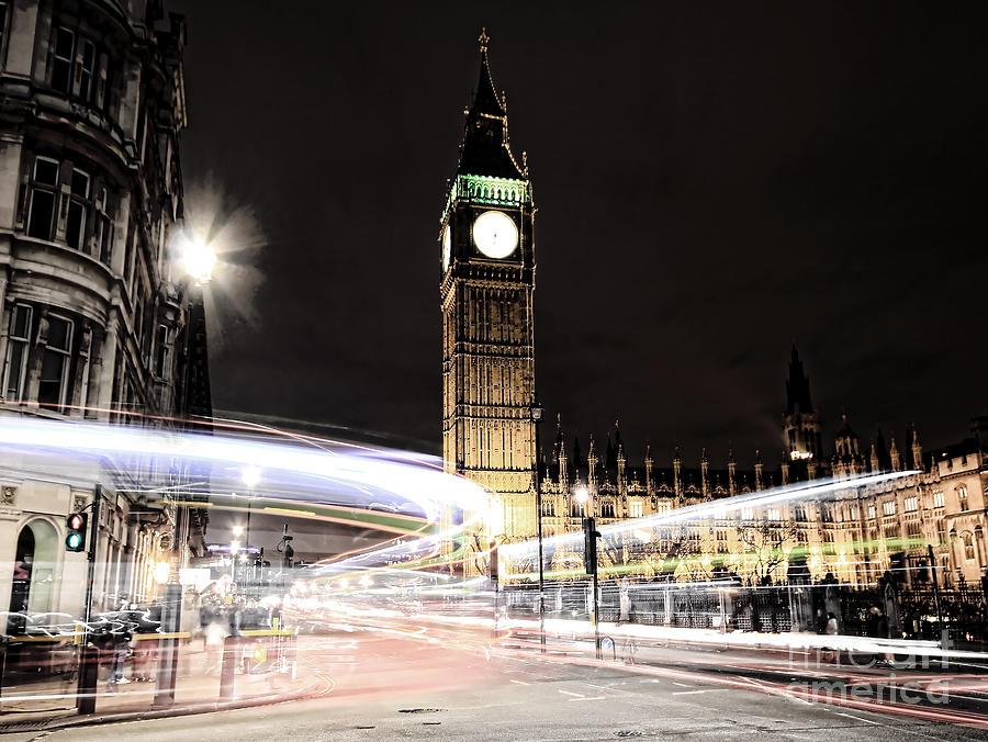 Big Ben Photograph - Big Ben With Light Trails by Jasna Buncic