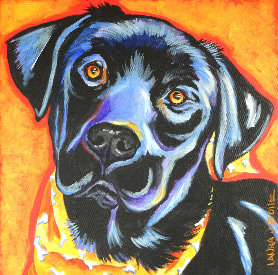 Big black dog painting by laura bolle for Dog painting artist