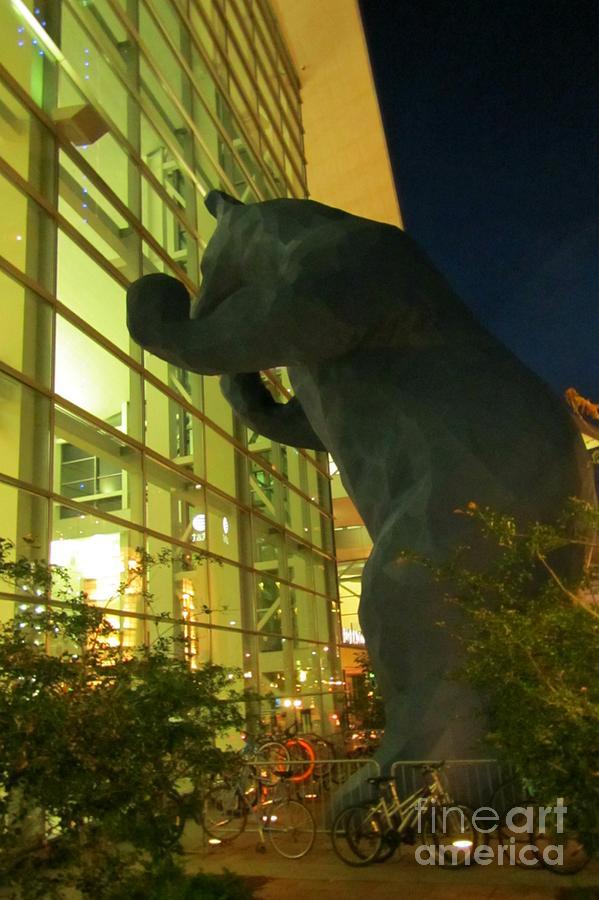 Big Blue Bear At Night In Denver