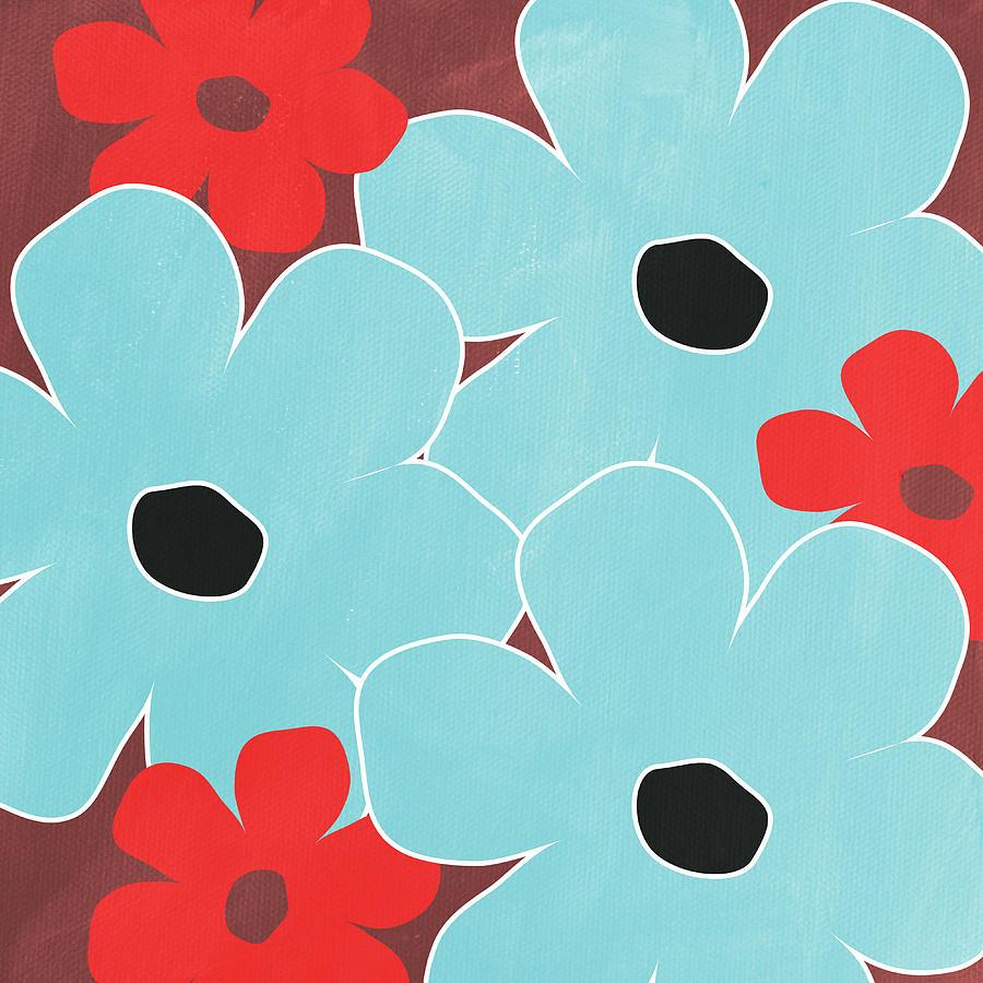 Big Blue Flowers Mixed Media