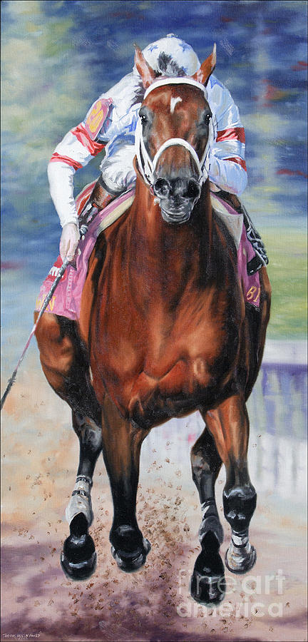 Big Brown Painting - Big Brown Charging Down The Stretch by Thomas Allen Pauly
