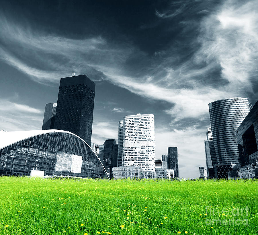 Background Photograph - Big City And Green Fresh Meadow by Michal Bednarek
