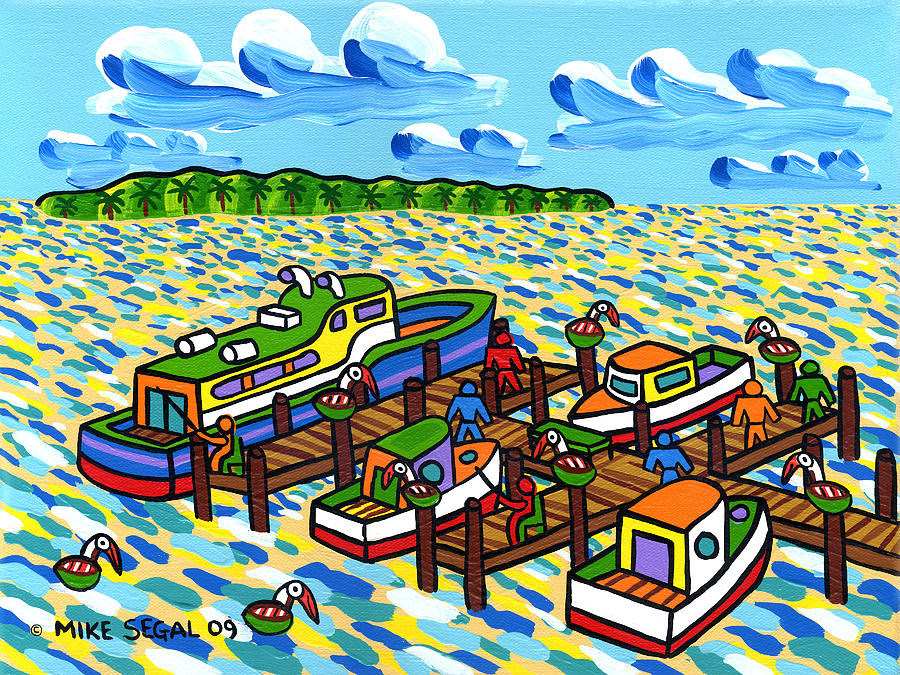 Boat Painting - Big Dock - Cedar Key by Mike Segal