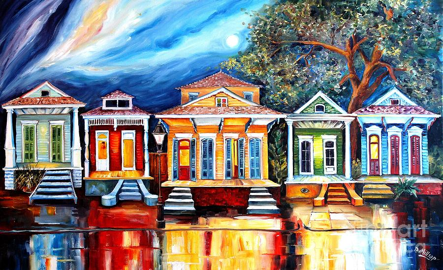 New Orleans Painting - Big Easy Shotguns by Diane Millsap