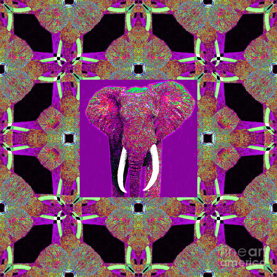 Elephant Photograph - Big Elephant Abstract Window 20130201m68 by Wingsdomain Art and Photography