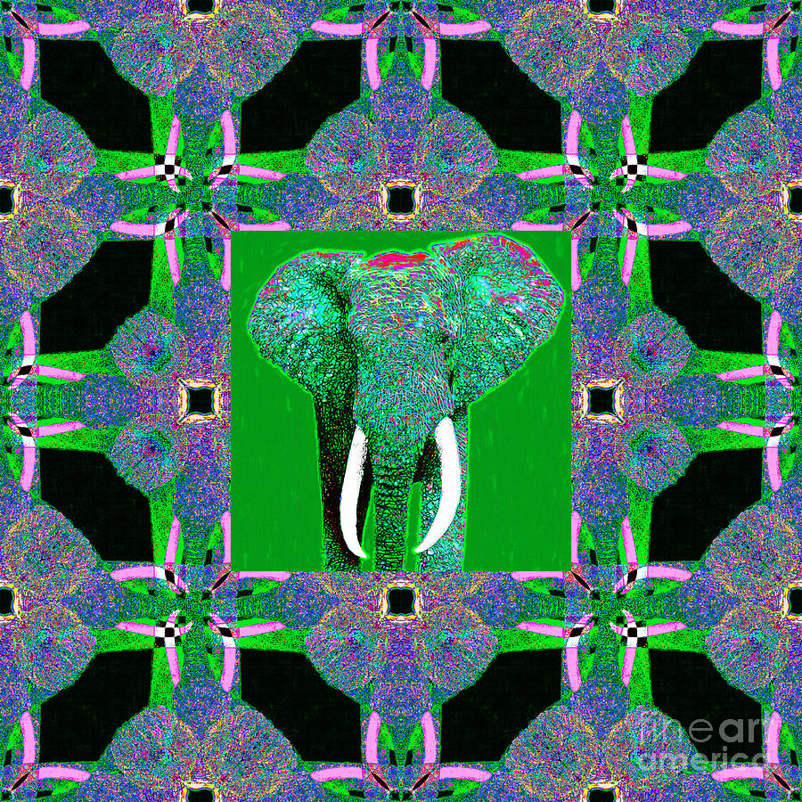 Elephant Photograph - Big Elephant Abstract Window 20130201p128 by Wingsdomain Art and Photography