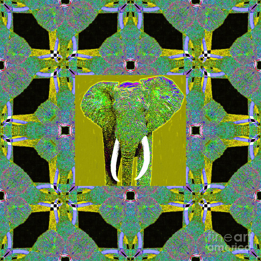 Elephant Photograph - Big Elephant Abstract Window 20130201p60 by Wingsdomain Art and Photography