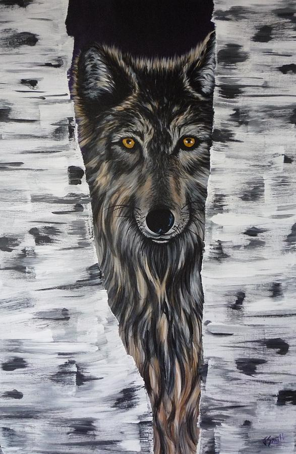Wolf Painting - Big Eyes by Jessi Smith