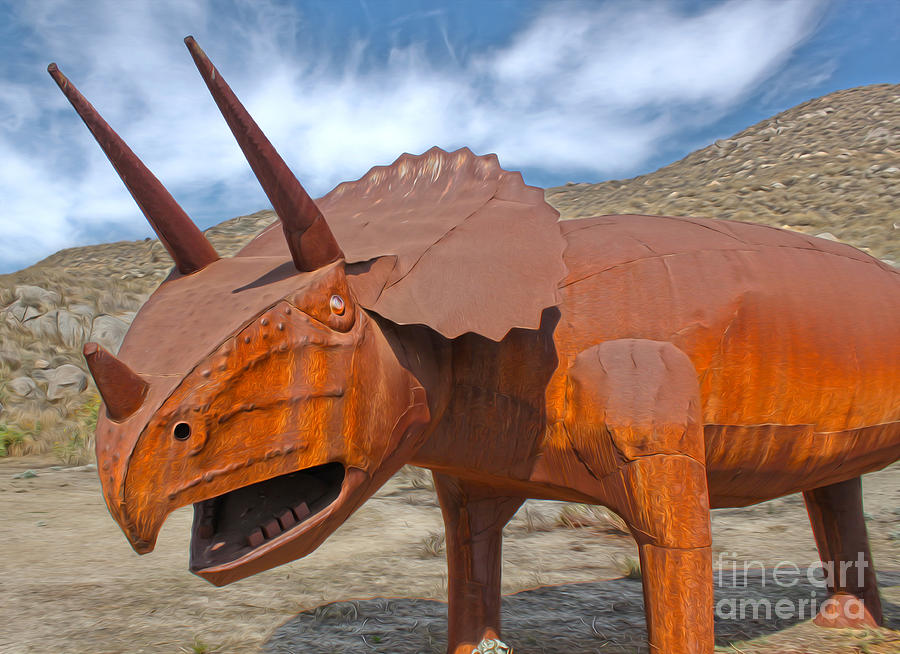 Roadside Attraction Painting - Big Fake Dinosaur - Triceratops by Gregory Dyer