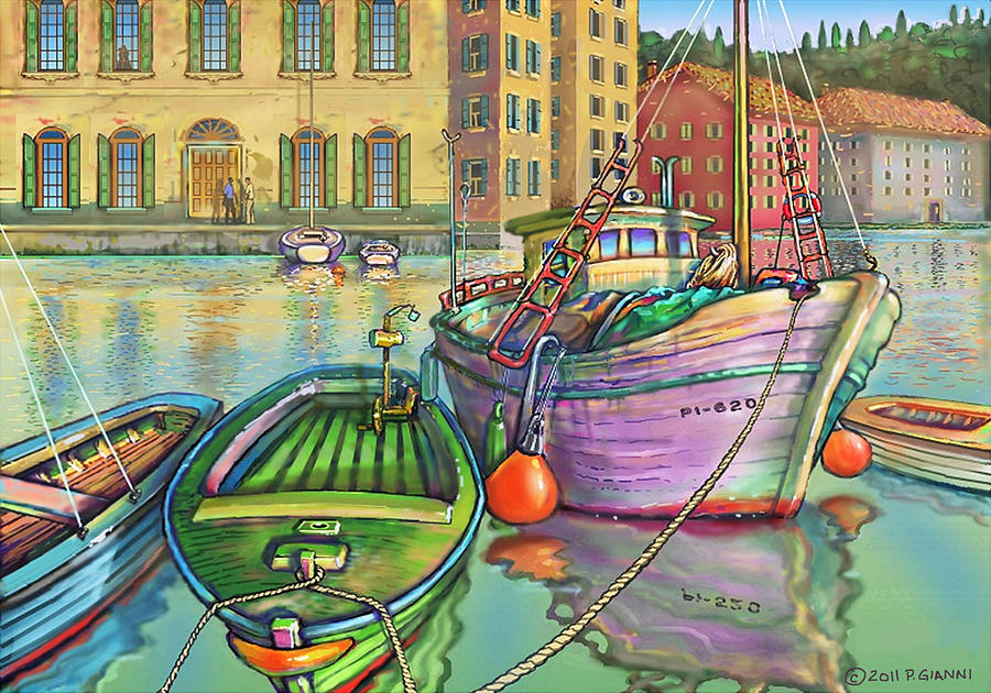 Big Fishing Boat Painting by Philip Gianni