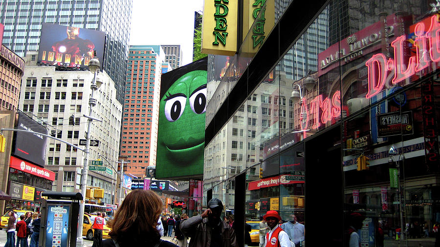 Times Square Photograph - Big Green M And M by Lorraine Devon Wilke