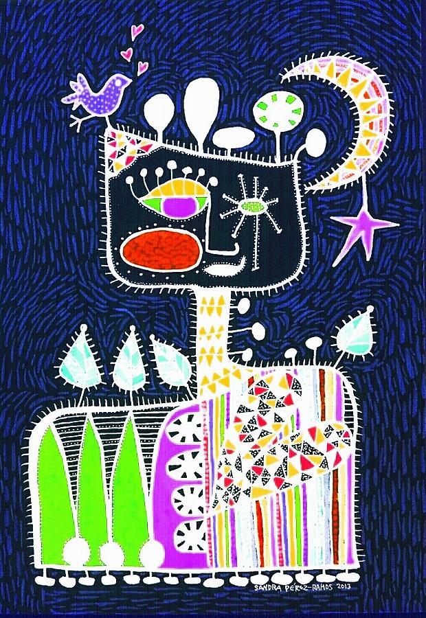 Luna Painting - Big Hearted Blue by Sandra Perez-Ramos