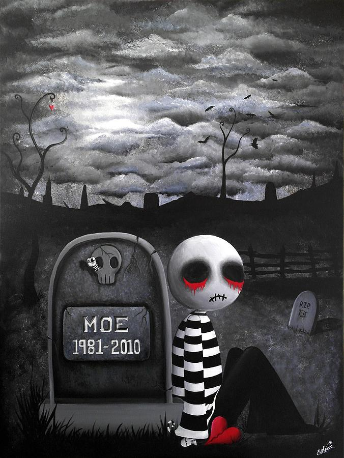 Creepy Cute Painting - Big Juicy Tears Of Blood And Pain No.10 by Lizzy Love of Oddball Art Co