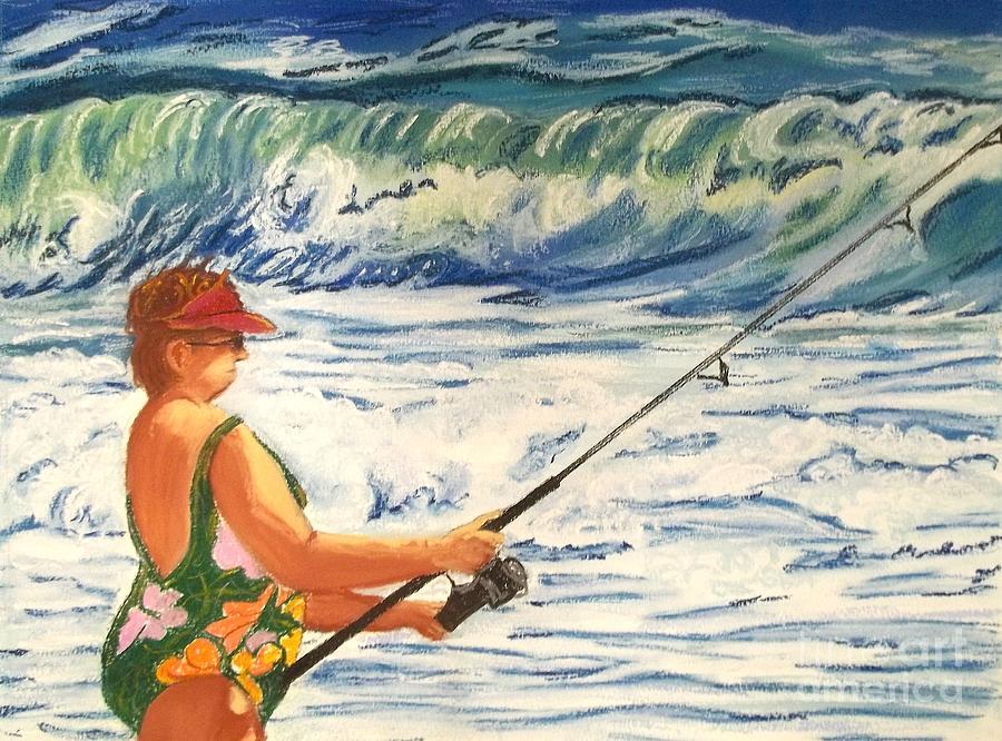 Figure Painting - Big Momma Fishin by Frank Giordano
