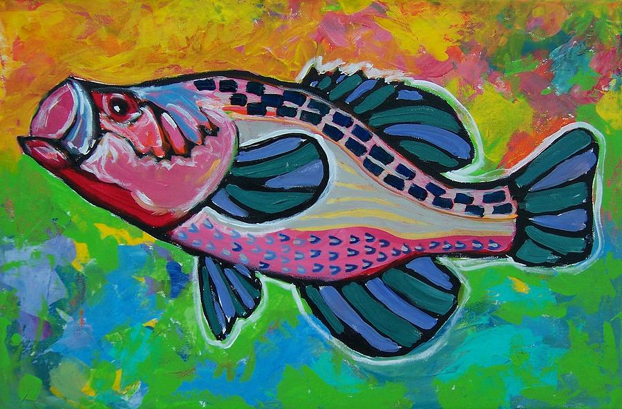 Big Mouth Bass Painting By Krista Ouellette