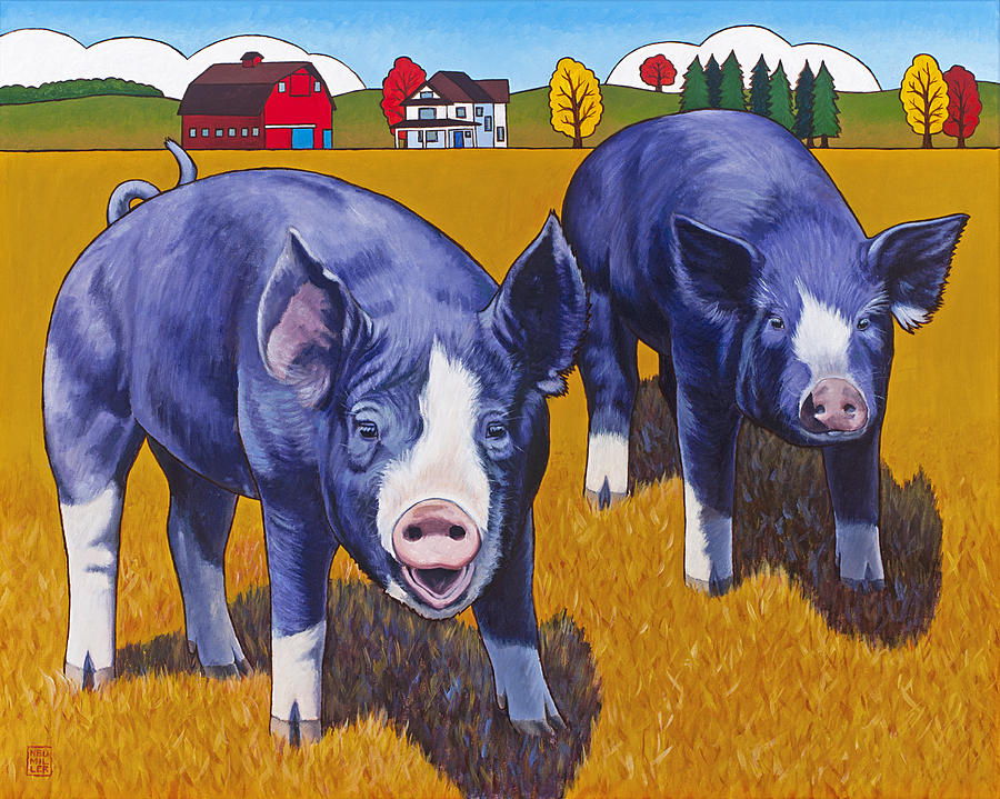 big pigs painting by stacey neumiller