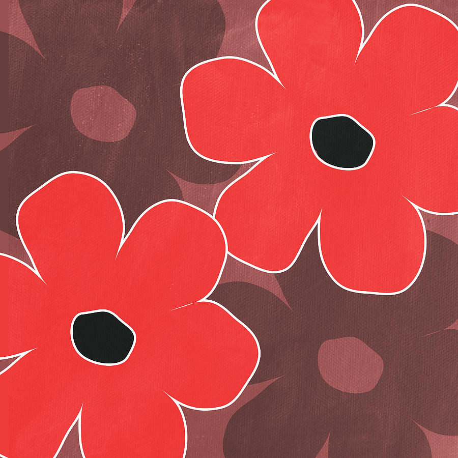 Big Red And Marsala Flowers Mixed Media