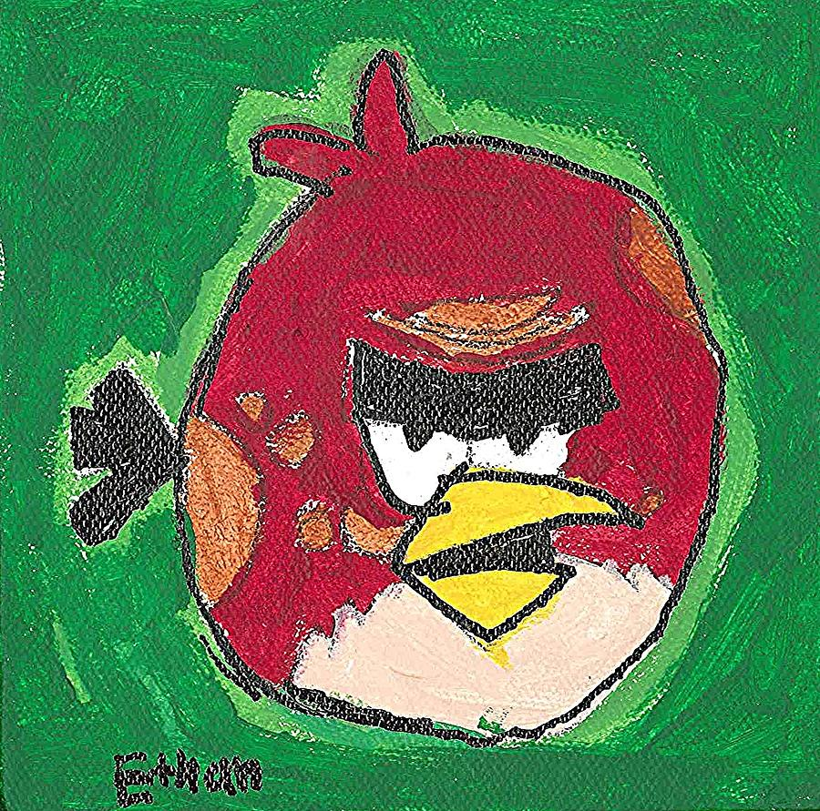 Big Red Angry Bird Painting by Fred Hanna