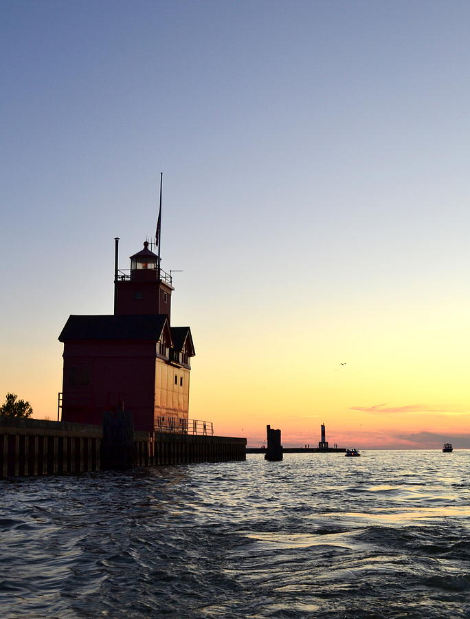 Lighthouse Photograph - Big Red At Sunset by Michelle Calkins