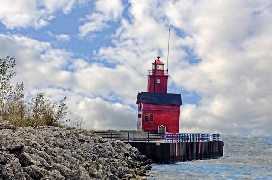 Holland Michigan Lighthouse Photograph - Big Red by Cheryl Cencich