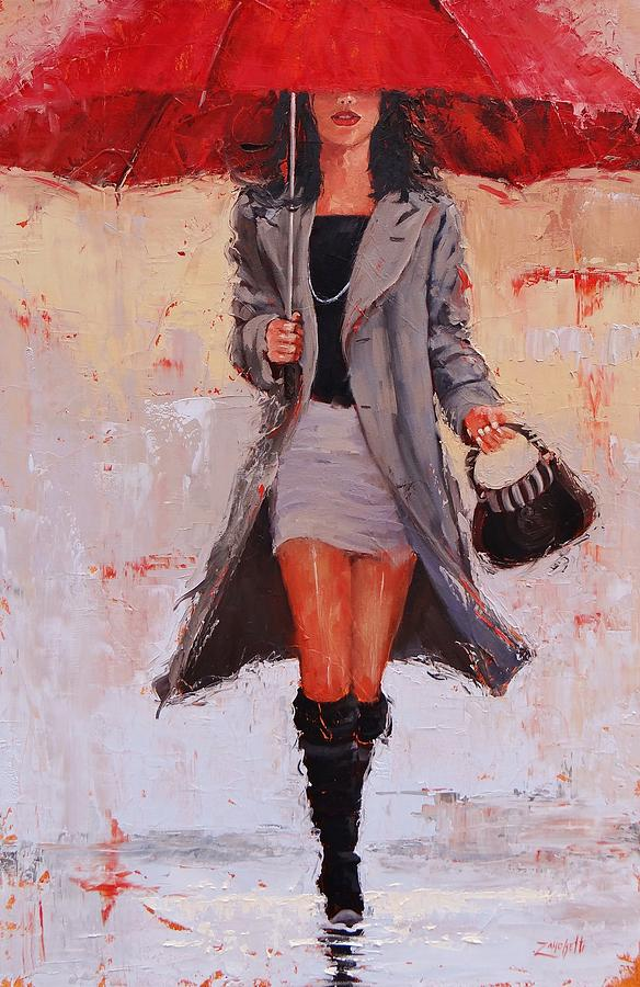 Umbrella Painting - Big Red by Laura Lee Zanghetti