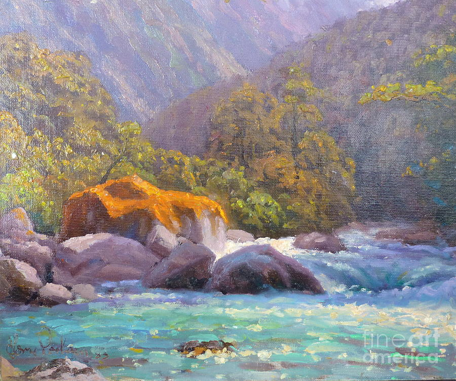 Rivers Painting - Big Rocks Holyford River by Terry Perham