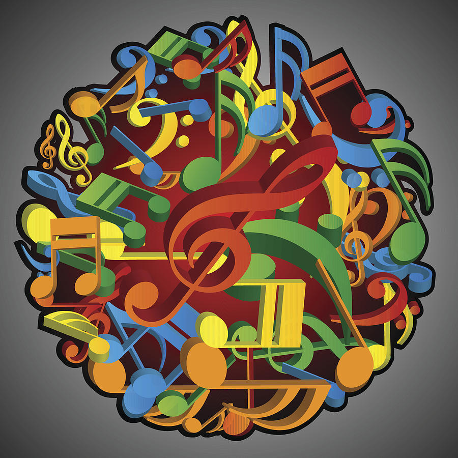 Big Round Pile Of Musical Notes Colorful Abstract Background