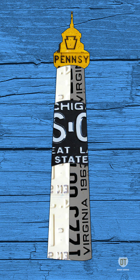Big Mixed Media - Big Sable Point Lighthouse Michigan Great Lakes License Plate Art by Design Turnpike