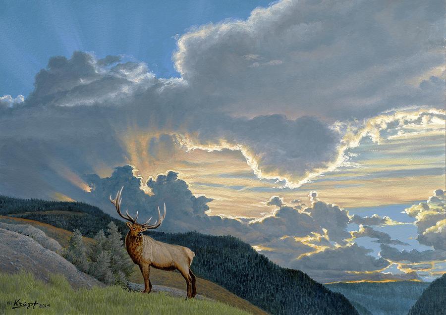 Sky Painting - Big Sky-bull Elk by Paul Krapf