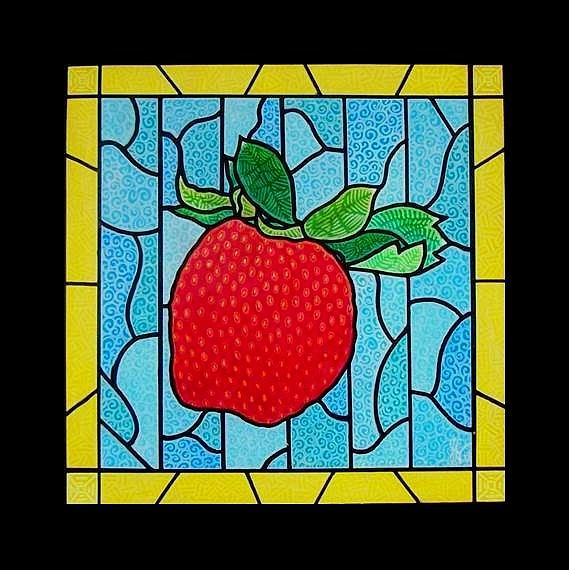 Strawberry Painting - Big Stained Glass Strawberry by Jim Harris
