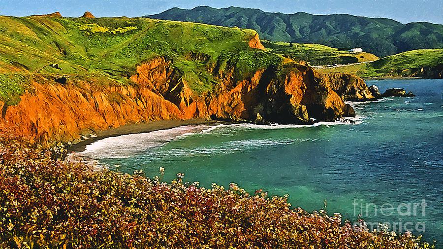 Pfeiffer Painting - Big Sur California Coastline by Bob and Nadine Johnston