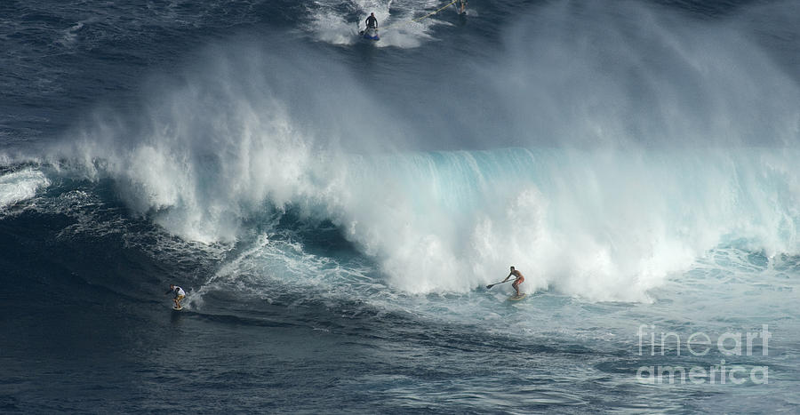 Extreme Sports Photograph - Big Wave Surfers Maui by Bob Christopher