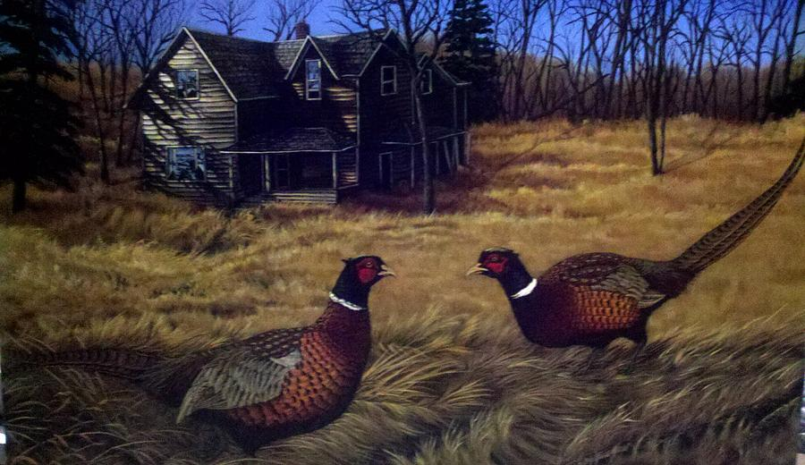 Pheasants Painting - Biggest Kid On The Block by Dan Parsons
