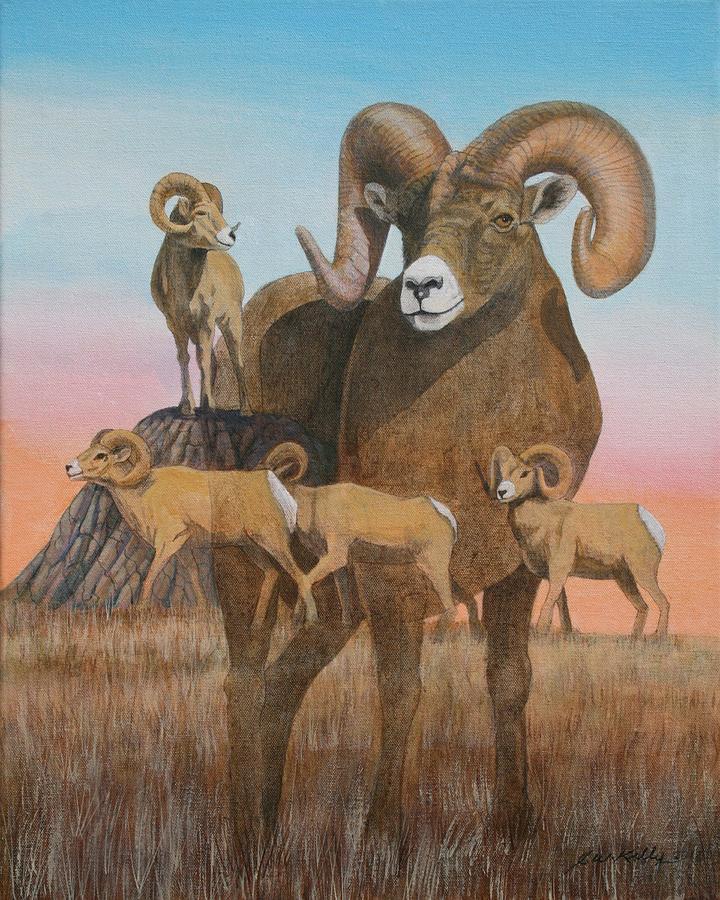 Bighorn Ram study 2011 Painting by J W Kelly