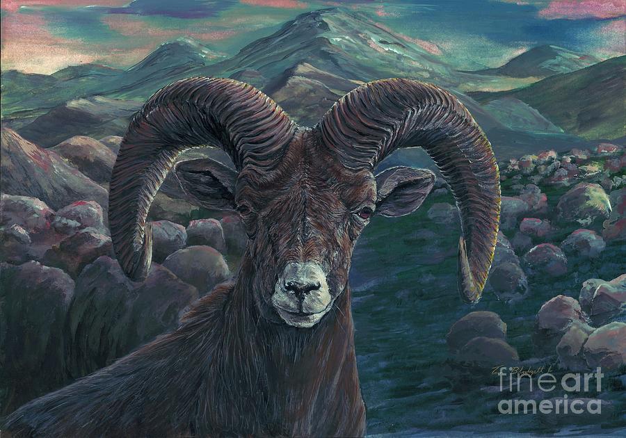 Big Horn Painting - Bighorn Sheep by Tom Blodgett Jr