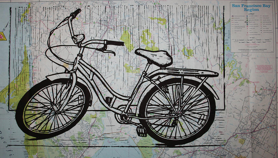 Bike Drawing - Bike 5 On Map by William Cauthern
