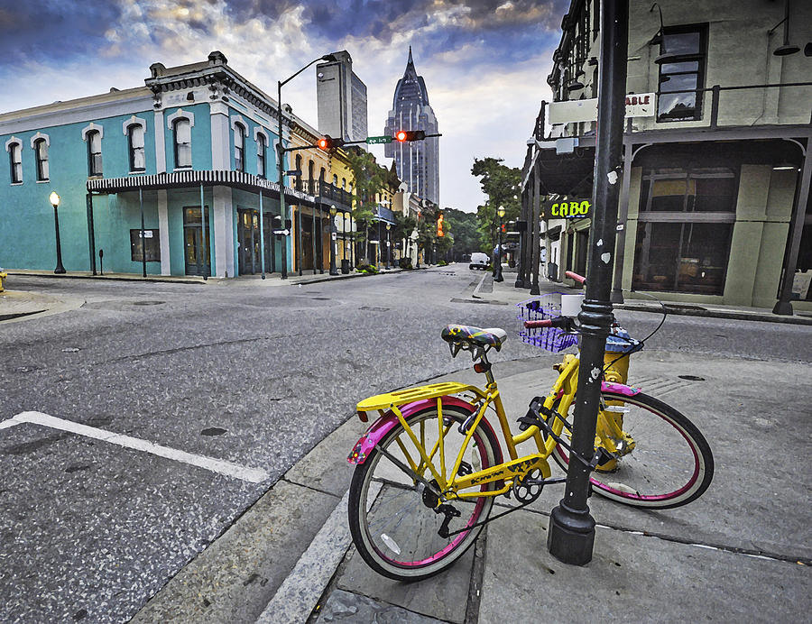 Mobile Digital Art - Bike And 3 Georges In Mobile Alabama by Michael Thomas