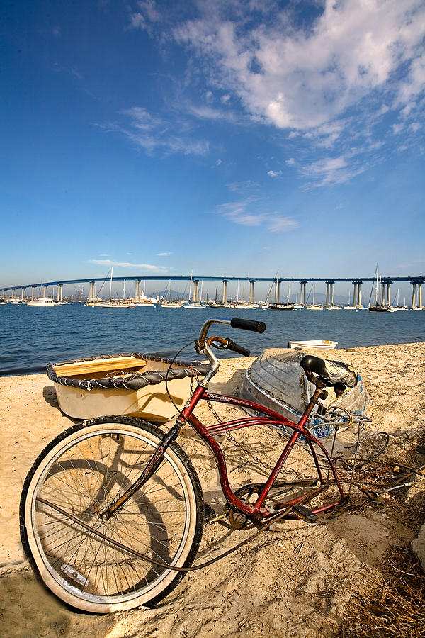 Beach Photograph - Bike And A Brdige by Peter Tellone