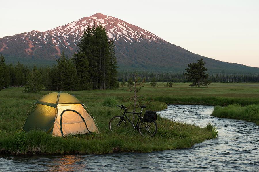 Bike Camping Photograph by Garyalvis