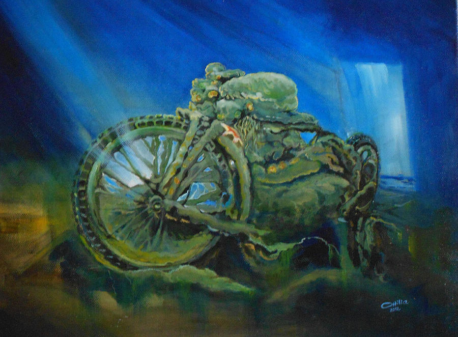 Motorbike Painting - Bike In A Different Dimension by Ottilia Zakany