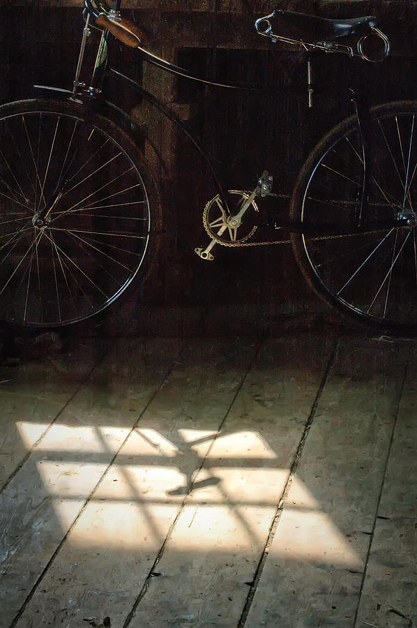 Light Photograph - Bike Light And Shadow In Barn by Gary Slawsky