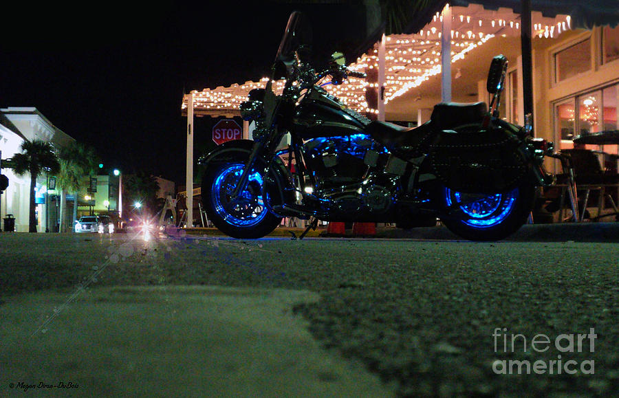 Florida Photograph - Bike Night In Blue Light by Megan Dirsa-DuBois