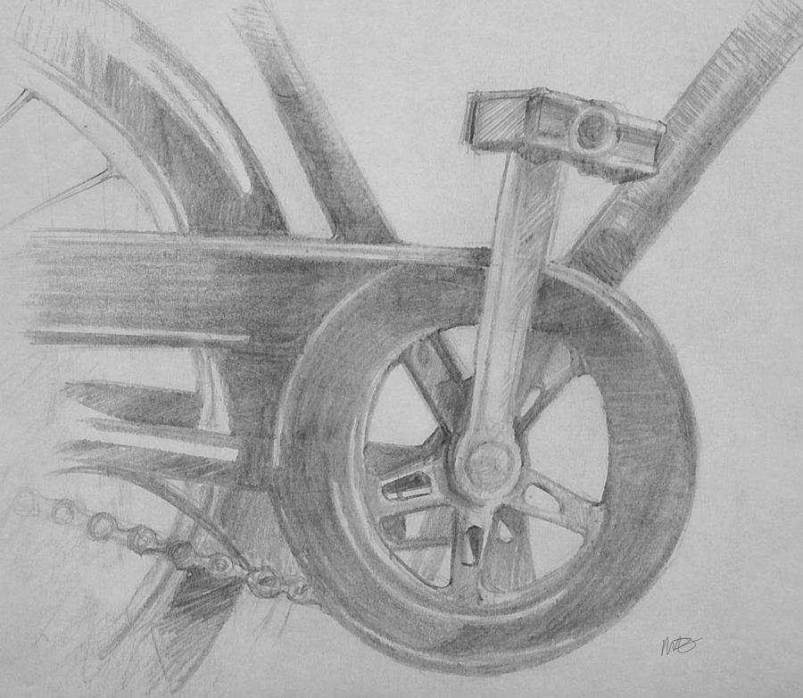 Bike Pedal Drawing By Michele Engling
