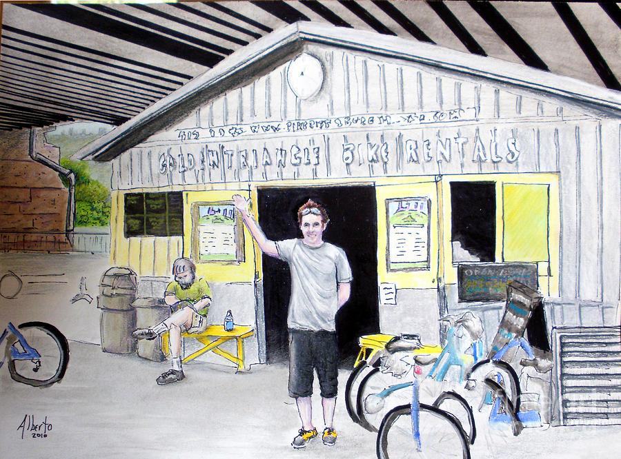 Bike Drawing - Bike Pittsburgh by Albert Puskaric