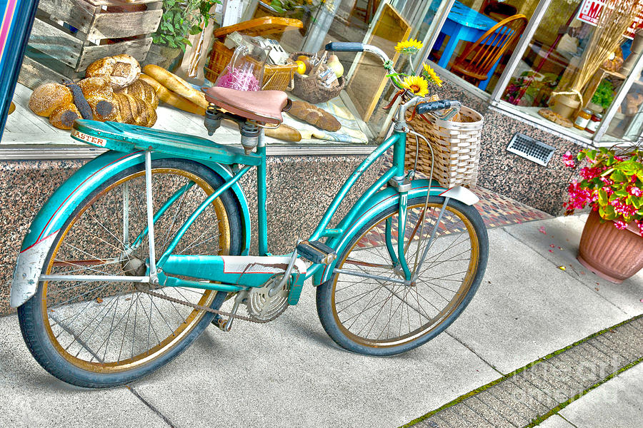 Old Bicycle Photograph - Bike Ride To The Bake House by John Debar