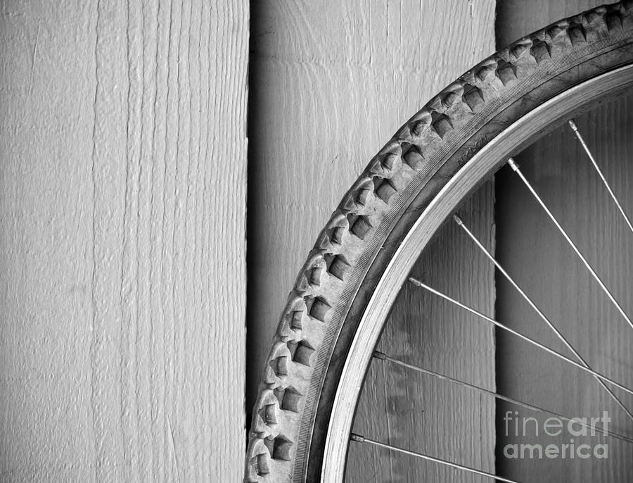 Background Photograph - Bike Wheel Black And White by Tim Hester