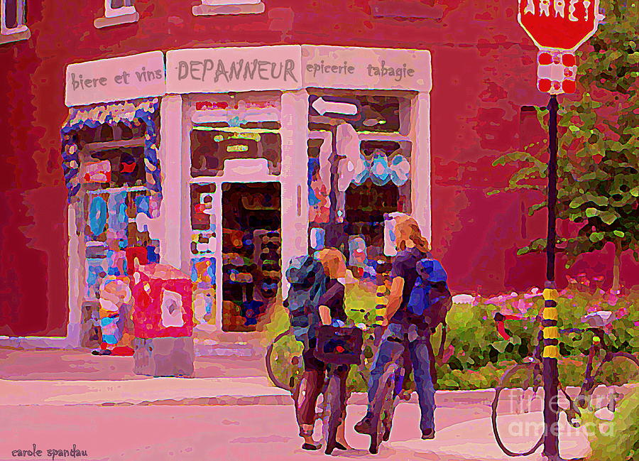 Convenience Stores Painting - Bikes Backpacks And Cold Beer At The Local Corner Depanneur Montreal Summer City Scene  by Carole Spandau