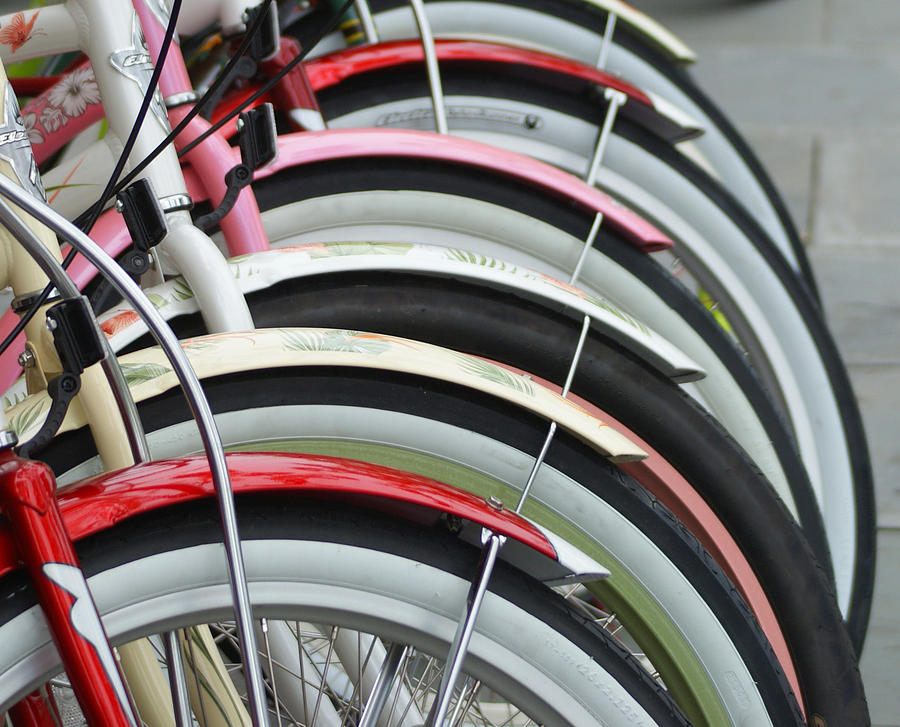 Bikes Photograph - Bikes In A Row by Joie Cameron-Brown